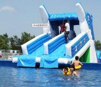 海豚水滑梯 充气泳池组合滑梯 水上滑梯